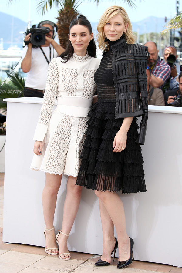 "CANNES, FRANCE - MAY 17:  Actresses Rooney Mara (L) and Cate Blanchett attend the ""Carol"" Photocall during the 68th annual Cannes Film Festival on May 17, 2015 in Cannes, France.  (Photo by Andreas Rentz/WireImage)"